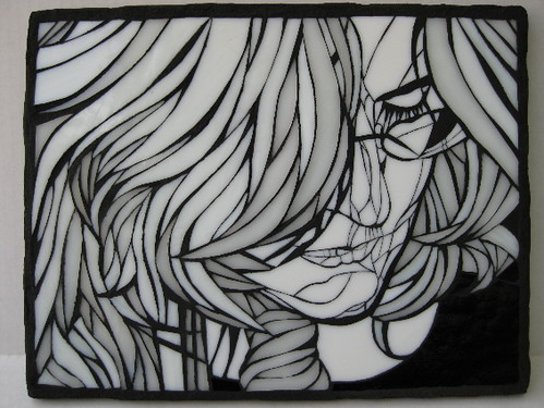 Self portrait in black and white stained glass mosaic wall art by mosaicsmith