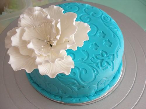 Teal Fondant Cake with white Peony Celina Flickr