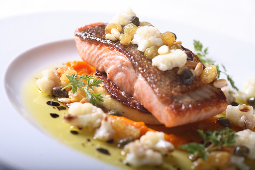 seared sockeye salmon, with cauliflower, sultanas, polenta and carrot purée | by scout.magazine