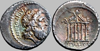 487/1 #9946-37 PETILLIVS CAPITOLINVS Jupiter, Capitoline Temple, horses on pediment, hanging decorations within, Denarius | by Ahala