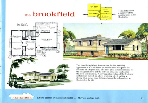 The split level house plan the brookfield liberty kit for Split level kit homes