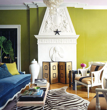 Bright, modern living room: Acid green + white + brown + blue: 'Oregano' by Benjamin Moore | by SarahKaron
