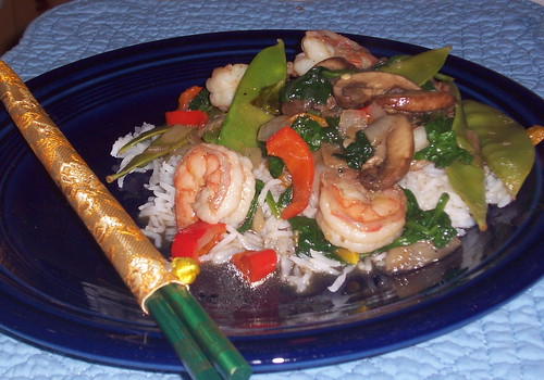Shrimp Stir Fry and chopsticks | by mia3mom