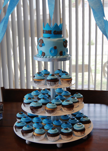 blue and brown prince baby shower cupcake tower | by Sweet Shoppe Mom and Simply Sweets