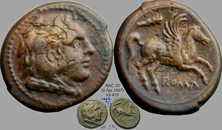 27/3 #0270-37 didrachm-litra coinage,  Hercules Pegasus club Litra, 18x21mm, 3g70 | by Ahala