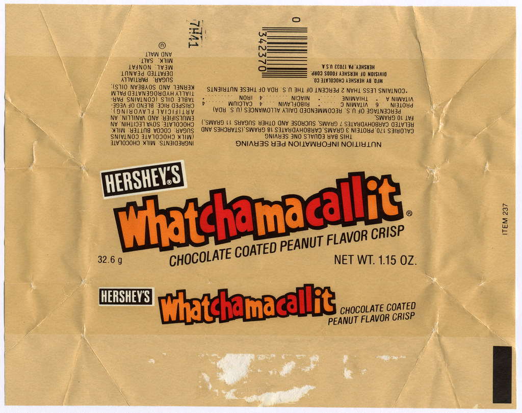 Hershey S Whatchamacallit Candy Bar Wrapper Early 1980 S Flickr