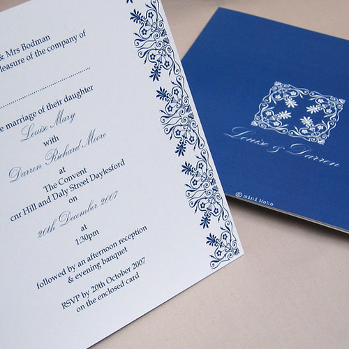 Victoriana Blue Wedding Invitation From Mini Moko