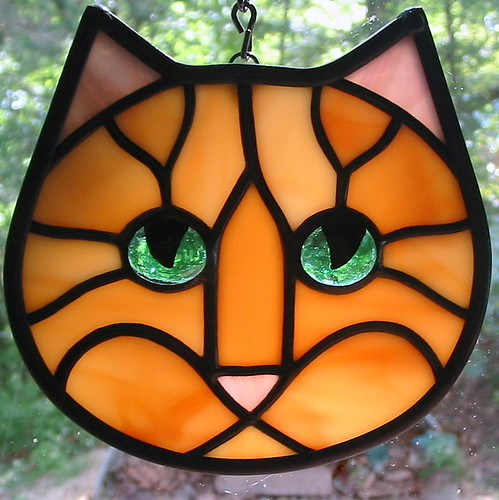 Amber Ginger Tabby Stained Glass Cat Face Ornament Flickr