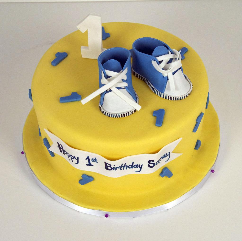 baby boy 1st birthday cake toronto A yellow 1st birthday c Flickr