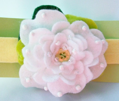 felt Peony headband front | by Beyond.the.Box