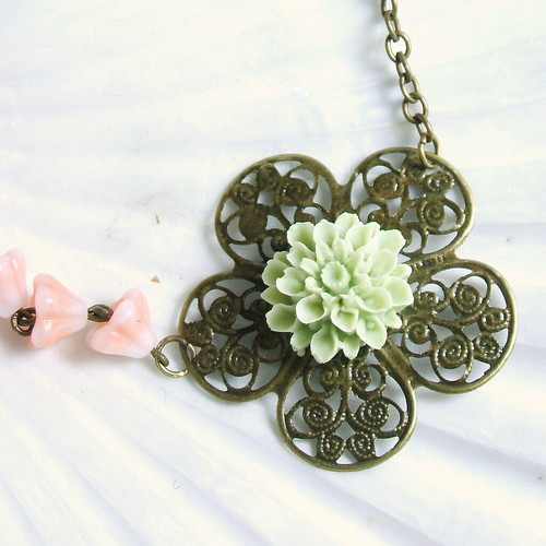 Mint and Peaches Posies Necklace | by cymbaline84