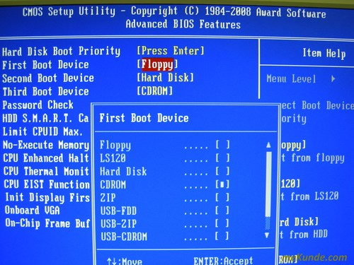 Cambiando first Boot device | by JavierCane