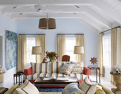 Beach cottage style: Blue living room + playful pattern mix + 'Clear Skies' by Benjamin Moore | by SarahKaron