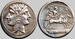 29/3 anonymous Quadrigatus. early Roman coinage Janus, angular truncation, relief legend on tablet; Jupiter, Victory in quadriga. AM#0589-67, 6g67 | by Ahala