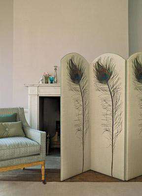 Modern Fabric Bold Peacock Feather Screen Blue Duck Egg Flickr