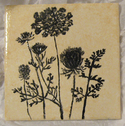 6x6 White Ceramic Tile Queen Annes Lace Tile | 6x6 ceramic tile, hand-painted as ...