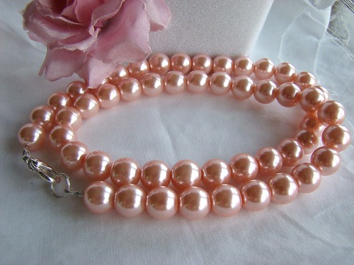 Simply Pink Glass Pearl Necklace | by cthings1