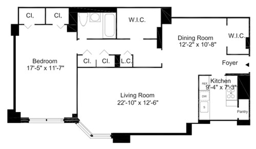 ... A One Bedroom Apartment Floorplan At The Pavilion Apartments   NYC | By  GlenwoodNYC