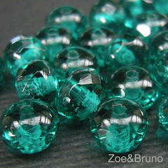 Teal Firepolish Czech Glass Gemstone Donut | by ZoeAndBruno