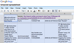 "Import Twitter search feed into Google spreadsheet - =ImportFeed(""http://search.twitter.com/search.atom?rpp=100&page=4&q=+%23carter+since%3A2009-02-24+until%3A2009-02-24"") 
