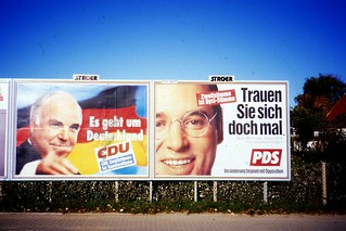 German Election Posters, Helmut Kohl, Gregor Gysi,  Rostock, Oct 1994