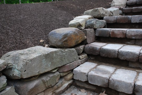 Stone wall and cobblestone steps | by A Storybook Life
