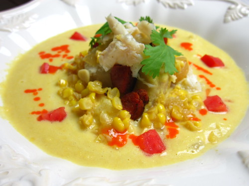creamy corn and crab soup with chorizo, yucca and chile emulsion | by SeppySills