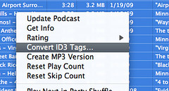 "Select the files, the right-click and select ""convert id3 tags..."" 