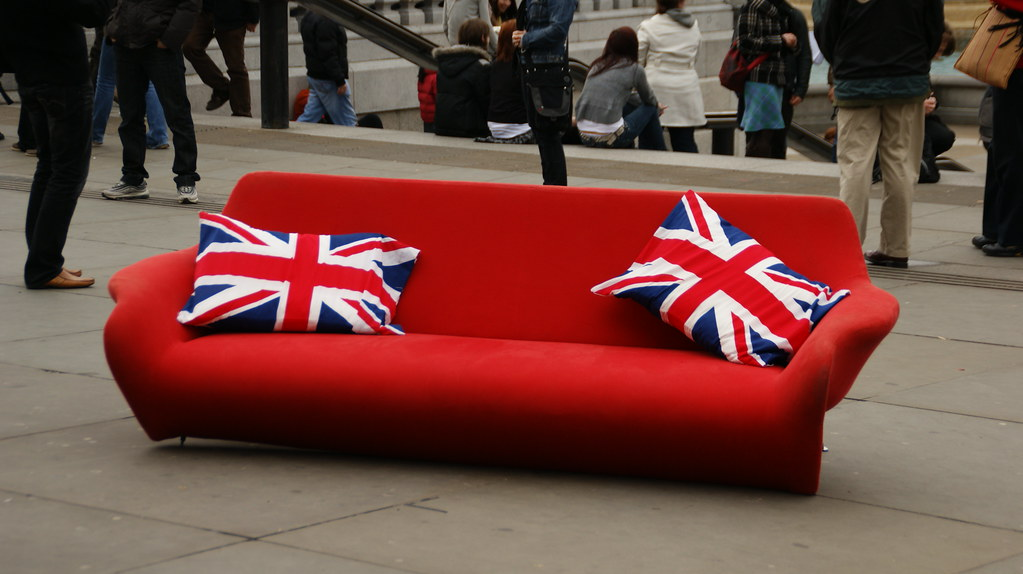 ... Red couch on display with British Flag cushions on Trafalgar Square |  by dionhinchcliffe