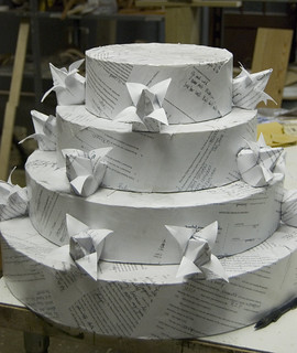 wedding cake made out of divorce papers | by ktyazoo
