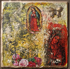 Guadalupe Mixed Media Faux Fresco Tile | by Sacred Yoli