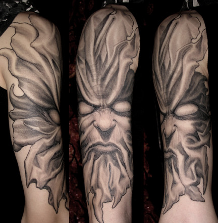 Leaf demon 2 tattoo art by paul booth for Paul booth tattoo artist