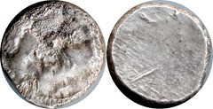 HN Italy 0152, Double-Denarius or 20 Asses, Etruria Populonia, Gorgoneion Blank 8g25 AM#0644-83, rare Etruscan issue | by Ahala