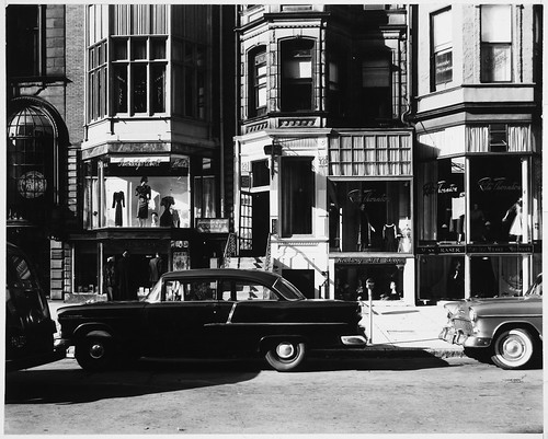 Storefronts on Newbury Street, with Rita Thornton (Clothing Store), Gwendolyn Cowell (Clothing Store), Bay Colony Book Shop, and Newbury Hat Shop, 10:00 A.M. to 1:00 P.M. | by MIT-Libraries