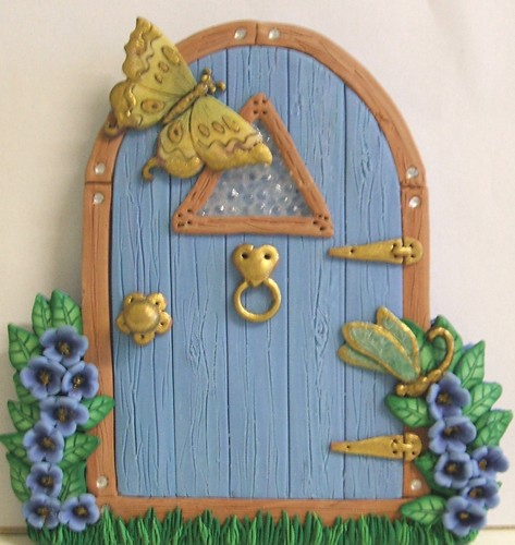 Blue fairy door hand crafted in polymer clay with some for White fairy door