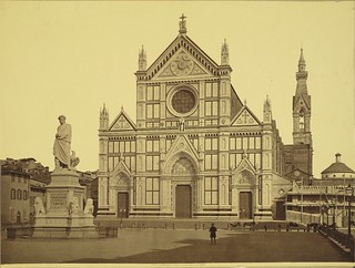 Florence. Statue of Dante and church of Santa Croce | by Cornell University Library