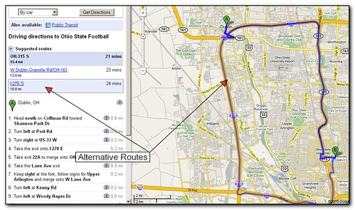 how to get alternate routes on google maps