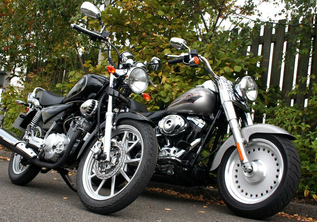 Yamaha YBR125 Custom and Harley Davidson Fat Boy | How convi… | Flickr