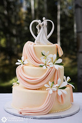 Orange wedding cake with cake topper | by Charlotte Geary Photography