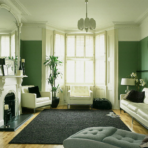 Green living room monochrome palette white accents flickr for Monochrome design ideas