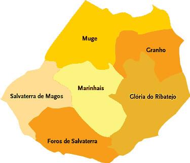 salvaterra de magos mapa Concelho de Salvaterra de Magos   Mapa das freguesias   Jorge  salvaterra de magos mapa