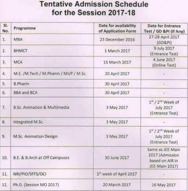 BIT Mesra Application Schedule