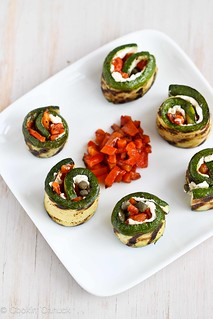 Grilled Zucchini Roll Recipe with Goat Cheese, Roasted Peppers & Capers | cookincanuck.com #vegetarian #recipe | by CookinCanuck