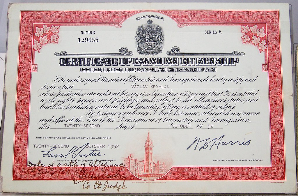 Certificate Of Canadian Citizenship Canadian War Museum O Flickr