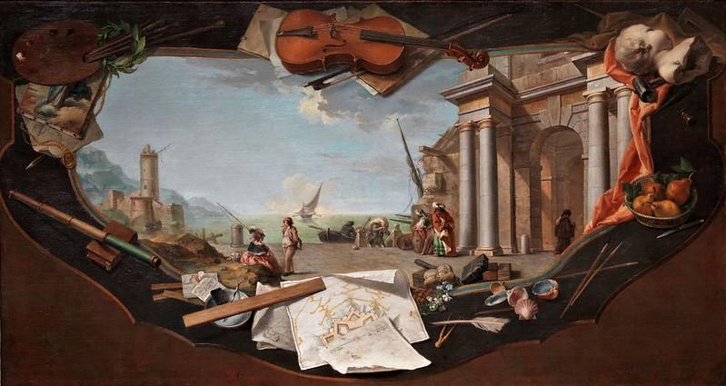 Charles Joseph Flipart - Paisaje con perspectiva arquitectónica rodeado por elementos simbólicos de las artes en trampantojo