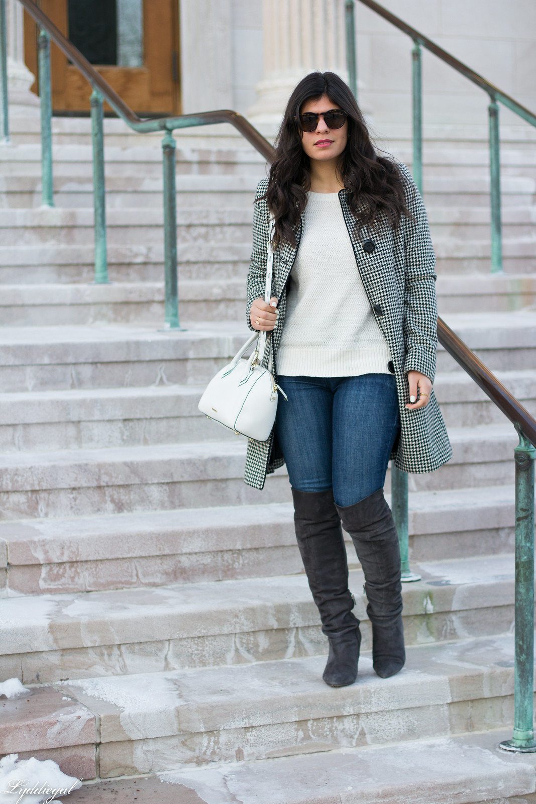 houndstooth coat, white sweater, grey over the knee boots-1.jpg