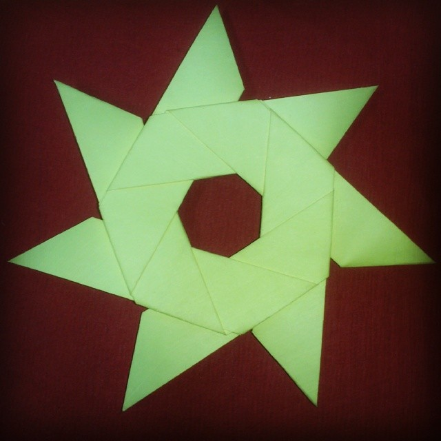 Origami Seven Sided Shuriken Folded From Post It Sticky No Flickr