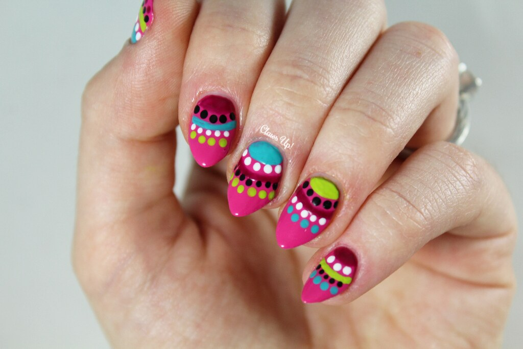 Colorful mandala nail art