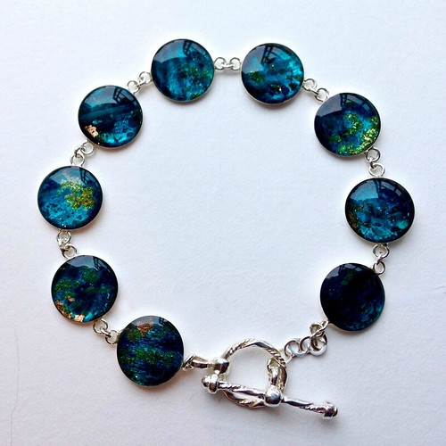 Paper and Resin Bracelet by Hilary Bravo