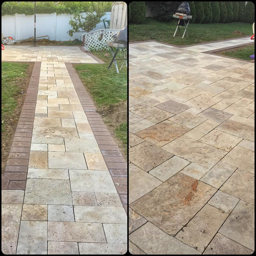 Travertine Patio U0026 Walkway With Cambridge Paver Borders.. #deerparkny Only  By Www.